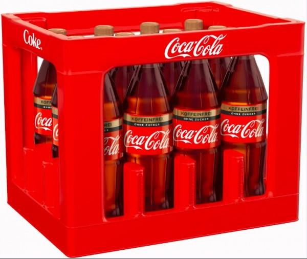 Coca Cola Zero Koffeinfrei 12x1,0 PET Mehrweg