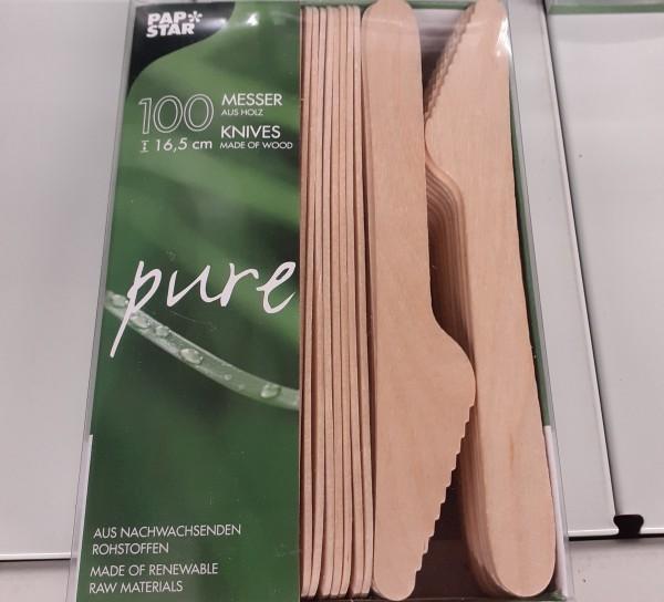 Papstar 100 Einwegmesser Holz 16,5 cm (M)